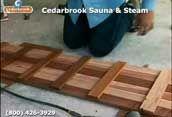 Assembling the precut sauna duckboard flooring kit for the entry way