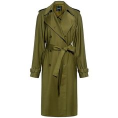 Theory - Light Wool Trench Coat ($655) ❤ liked on Polyvore featuring outerwear, coats, theory coat, green coat, green trench coat, wool coat and woolen trench coat