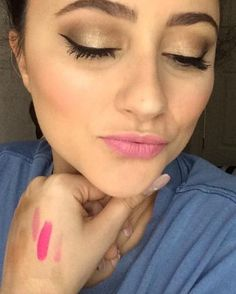 Soft smokey eye with pink lips