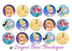 Disney Princesses Bottle Cap Images via Etsy