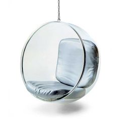 @Overstock.com - Hanging Bubble Chair - This contemporary-styled hanging bubble chair is great for indoor or outdoor use.  The chair is suspended from above creating a floating or bubble-like sensation.  http://www.overstock.com/Home-Garden/Hanging-Bubble-Chair/4685457/product.html?CID=214117 $742.99