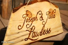 Wood Burned Custom Rustic Wedding Plaques Names Cabin Signs Personalized. $30.00, via Etsy.