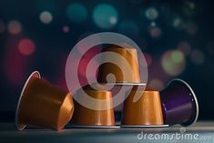 Coffee capsules, colorful background, colorful coffee capsules