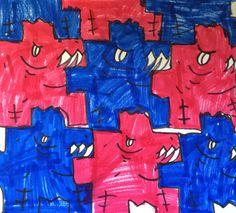 Kathy's AngelNik Designs & Art Project Ideas: Imagination Tesselation - Escher Inspired Art Lesson 4th grade student work