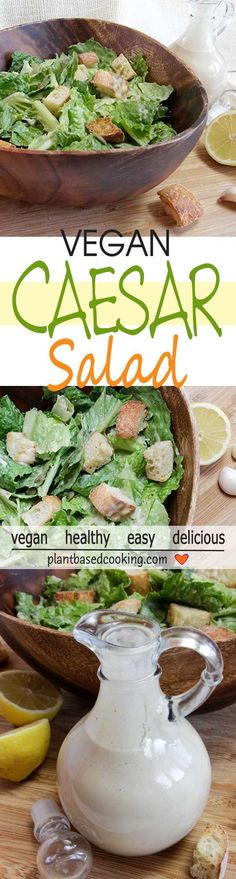 This Caesar salad is bright and punchy and is sure to please your taste buds especially without oil! Add a few leaves of kale, if you like. The pumpkin seeds add a kick of magnesium, too. Crunchy croutons really make it zing. Salad Recipes For Dinner, Healthy Salad Recipes, Healthy Foods To Eat, Whole Food Recipes, Vegetarian Recipes, Vegan Meals, Vegan Foods, Vegetarian Cooking, Free Recipes