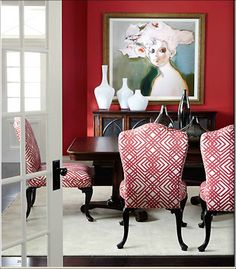 Wall art ,red dining room /Ethan Allen
