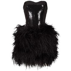 Preowned Lillie Rubin Strapless Ostrich Feather Sequinned Mini Dress,... ($1,997) ❤ liked on Polyvore featuring dresses, multiple, short sequin skirt, sequin cocktail dresses, strapless dresses, sequin mini skirt and strapless mini dress
