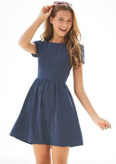 pin dot dress from Delias. unfortunately all of their more grown-up clothes are online-only. this would be great for travel!