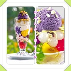 """Halo-Halo is a traditional Filipino treat consisting of a blend of fruits, sweet preserves, evaporated milk, and shaved ice. It is frequently topped with a scoop of ice cream. The name literally means """"Mix-Mix."""""""