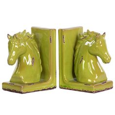 Turquoise Urban Trends Ceramic Horse Head on Base Bookend Set of 2 Gloss
