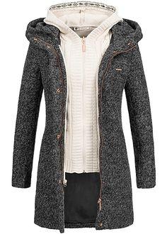 Aiki Damen Winter Mantel Kapuze herausnehmbare Strickweste dunkel grau - 77onlineshop