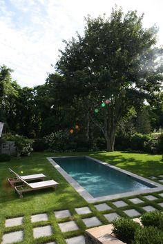 Backyard Pool Landscaping, Backyard Pool Designs, Small Backyard Patio, Swimming Pools Backyard, Outdoor Pool, Backyard Ideas, Hampton Pool, East Hampton, Small Pool Design
