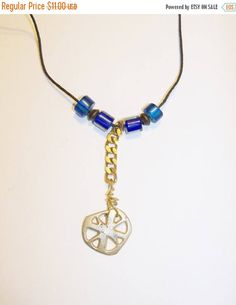 In my #etsy shop: Christmas Sale 2 Cross Pendant Chi Rho Handmade Silver Tone Blue Beads Adjustable Leather Cord Clergy Gift Men Women http://etsy.me/2DtkUQd #jewelry #necklace #goldtonenecklace #ChristmasSale #blackcord #handmadependant #crossnecklace