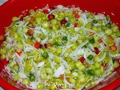Hozzávalók:   1 kg csípős paprika (lehet fele pepperoni, másik fele zöld és piros csípős)  1 kg fehér hagyma  5 db babél levél  1 kávéska... Pepperoni, Cobb Salad, Potato Salad, Grains, Potatoes, Rice, Ethnic Recipes, Jar, Red Peppers