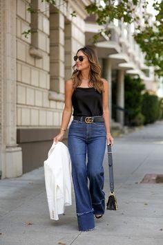 High Waist Flare Denim - Gucci Belt - Ideas of Gucci Belt - black gucci belt Outfits Mujer, Jean Outfits, Casual Outfits, Cute Outfits, Fashion Outfits, Gucci Outfits, Denim Fashion, Style Fashion, High Waisted Flares