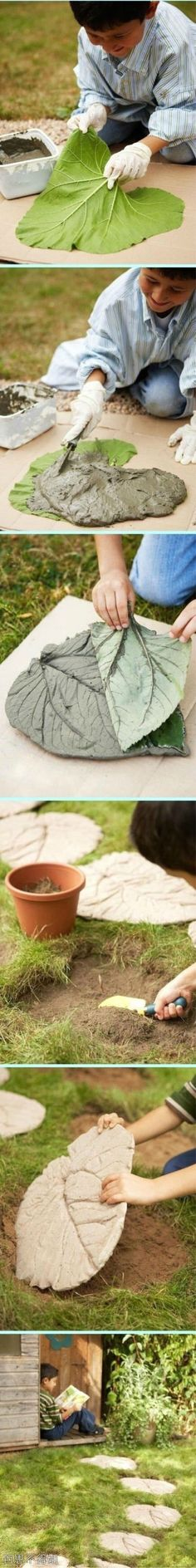 Make a fun, leaf-inspired garden path with this step-by-step guide for making stepping stones.