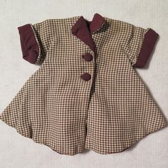 1920s - 40s Brown Check Doll Coat 8 inches