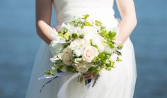 white and green bridal bouquet Bridal Bouquets, One Shoulder Wedding Dress, Wedding Dresses, Floral, Green, Image, Fashion, Bride Dresses, Moda
