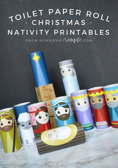 The kids will love creating this Toilet Paper Roll Nativity craft! Such a simple, fun, and darling way to display the Christmas Nativity! Christmas Activities For Kids, Preschool Christmas, Christmas Nativity, Kids Christmas, Christmas Printables, Xmas, Christmas Games, Christmas 2017, Christmas Christmas