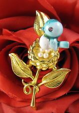 Vintage Gold Crown Blue Bird Faux Pearl Pin CAT RESCUE