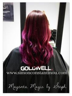 Simply Stunning! Magenta Balayage by Steph   This is a big colour job to achieve a dramatic change. The colour starts intensely vibrant, and will fade with each wash to a trendy smokier tone, so professional colour care shampoos & conditioners  are advised to help prolong the colour's life. Pop in for a complementary colour consultation, where one of our amazing colourists will help you achieve the best colour to suit you and your lifestyle. Call 02920461191 #balayage #magenta #purplehair