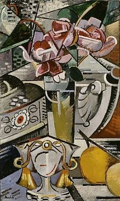Still life - Auguste Herbin - Cubist Artists, Cubism Art, Abstract Painters, Abstract Art, Auguste Herbin, Cubist Movement, Art Deco Paintings, School Painting, Post Impressionism