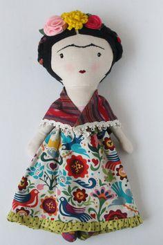 Frida-inspired cloth doll