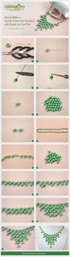 How to Make a Beaded Statement Necklace with Pearls and Eye Pins