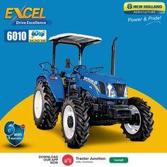 New Holland Excel 6010 में है 3 Cylinder और 60HP का Engine. और साथ में है 2000-2500.KG की Lifting Capacity. #TractorJunction#loan #price #Specifications #NewHollend Tractor Price, New Holland Tractor, Tractors
