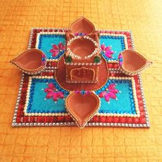 Diya Plate & Diya & Tulsi(combo pack) - Online Shopping for Diyas and Lights by Dipti Art & Craft