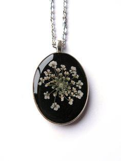 Queen Annes Lace Resin Pendant Necklace -  Real Pressed Flower Encased in Resin, Pressed Flower Jewelry