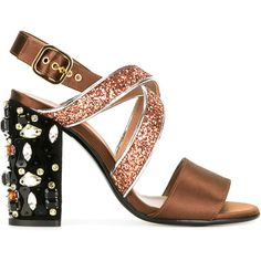Marni embellished glitter sandals (€380) ❤ liked on Polyvore featuring shoes, sandals, heels, marni, brown, strappy leather sandals, block heel shoes, strappy block heel sandals, embellished sandals and slingback sandals