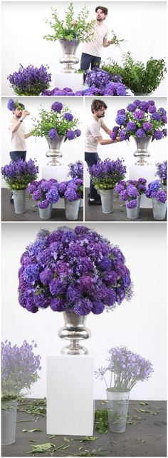 McQueens florist Vagner assembling a stunning standalone display of sumptuous purple and blue hydrangea... Click to watch the step-by-step video on YouTube.