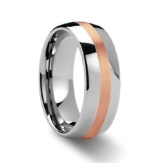 Tungsten Wedding Bands | Rose Gold Inlaid Domed Tungsten Ring - 8 mm | Larson Jewelers