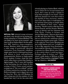 Tatiana Maslany featured on Entertainment Weekly's 8/9/13 issue (digital copy)