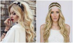 idée de coiffure cheveux détachés et ondulés avec headband en cristaux et perles