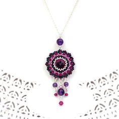 Amethyst crystal necklace Chandelier necklace Purple