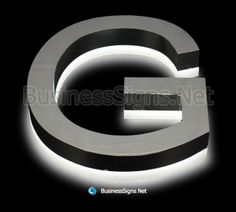 LED Backlit Business Signs With Mirror Polished Stainless Steel Letter Shell And Visible Acrylic Back-panel Backlit Signs, Halo Effect, Light Letters, Business Signs, Side View, Signage, Shell, Surface, Indoor