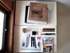 Travel art journal supplies