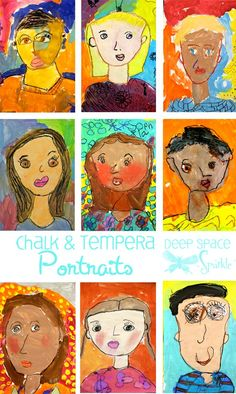 K / 1st / 2nd: tempera and chalk self-portraits