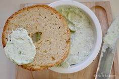 "Cara is a gluten-free, egg-free and dairy-free blogger. We love her delicious recipe for Raw Garden Herb Spreadable ""Cheese"" atop a bagel made with Pamela's Bread Mix."