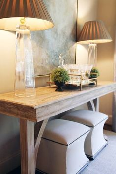 Similar idea under the TV without the lamps.  Console table would be thinner to save space.  But stools under would add more seating options.