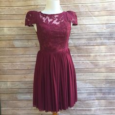LF Lace/Embroidered Dress Angel Biba for LF! This is the most darling dress ever! Every detail is stunning- from the cap sleeves to the peek-a-boo lace back. Just precious! Dress is fully lined with 2 chiffon skirt overlays. Side zipper. LF Dresses