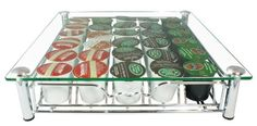 DecoBros Crystal Glass Coffee Storage Drawer Holder for Keurig K-cup Pods