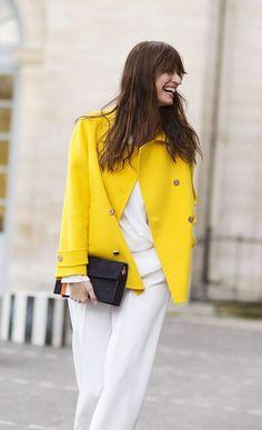 Bright! / Caroline De Maigret, Paris Fashion Week, Dior FW16 / Garance Doré. White total look with yellow jacket.