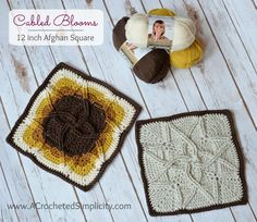 Free Crochet Pattern - Cabled Blooms 12 inch Afghan Square