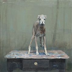 Pieter Pander, Windhondje op Tafeltje, oil on panel, 2009