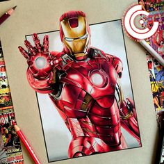 Ironman. - Original is still available if you are interested please DM me, prints are also available on my website in 2 sizes  - Roughly 18 hours, Fabercastell Polychromos on Strathmore Toned Tan. - #art #artist #artwork #drawing #ironman #marvel #marvelcomics #tonystark #avengers