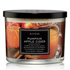 AVON's Pumpkin Apple Cider Scented Candle is a delightful fall medley of pumpkin sweet apples and a dash of buttered rum and allspice. Fall Candles, Home Candles, 3 Wick Candles, Scented Candles, Candle Jars, Candle Shop, Home Scents, Burning Candle, Skin So Soft