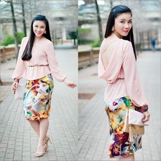 Cowl Back Blouse + Floral Silk Midi Pencil Skirt http://www.lynnegabriel.com/?p=25751